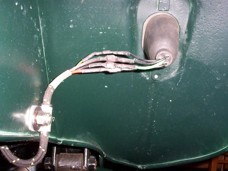 rear of the taillight showing heatshrink over spade terminals